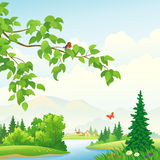 Mountain scenic. Illustration of a beautiful summer landscape Royalty Free Stock Photo