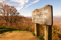 Mountain scenic overlook with sign. Scenic overlook from Afton mountain in Virginia with a sign describing the location Royalty Free Stock Photos