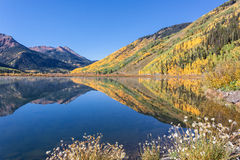 Mountain Scenic Reflection in Autumn Stock Photography