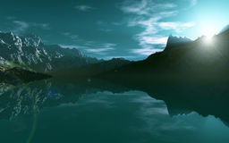 Mountain Sea. This image shows a mountain sea with reflection stock illustration