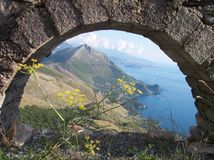 Mountain on the sea. Thise are the mountains that fall down on the sea , the view is from the ancien ruins of the city of Maratea Royalty Free Stock Photos