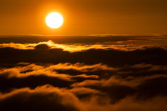 Mountain sea of clouds. Over the Transylvanian Alps, Romania royalty free stock images