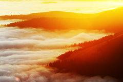 Mountain sea of clouds Royalty Free Stock Photo
