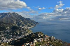 The mountain and the sea form a beautiful landscape on the Amalfi coast, in Italy. royalty free stock photos