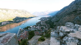 Mountain and sea view. Kotor. Montenegro stock video footage
