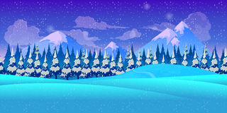 Mountain seamless background illustration for mobile app, web, game with snow and ice. Vector template. Stock Images