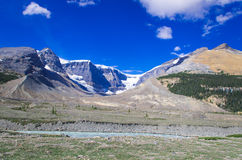 Mountain series, snow mountain, glacier and blue sky aside the parkway towards Jasper national park Royalty Free Stock Photos