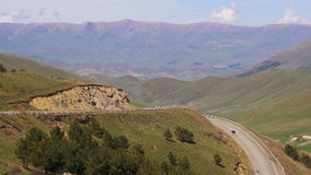 The Mountain Serpentine and Cars drive Along the Road in Armenia stock video