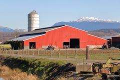 Mountain Setting and Red Barn Royalty Free Stock Photo