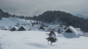 Mountain settlement in winter Time lapse stock video footage