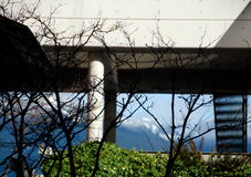 Mountain Seymour framed by white stone arc. On Water street, Vancouver, Canada Stock Photography