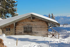 Mountain shack in winter, germany Royalty Free Stock Images
