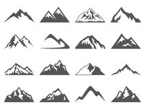 Mountain Shapes For Logos. Set of sixteen vector mountain shapes for logos. Camping mountain logo, travel labels, climbing or hiking badges stock illustration