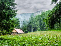 Mountain shelter in Carpathians during inclement weather Stock Photography
