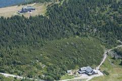 Mountain shelter in Karkonosze. Beautiful mountains in Poland during summer Stock Photos