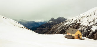 Mountain shelter. A shelter in the mountains stock images