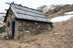 Mountain shelter. A shelter in the mountains Royalty Free Stock Photos