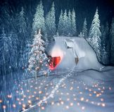 Christmas House in the Carpathians stock photo