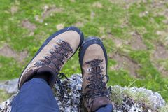 Mountain shoe. S on a commercial photo Royalty Free Stock Image