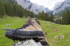 Mountain shoe. S on a commercial photo. Photo taken in Valea Gaura in Bucegi mountains, Romania Royalty Free Stock Photography