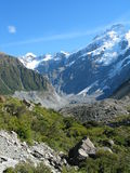 Mountain side. Mountain valley near Mt Cook, looking up towards an old gacier. New Zealand Royalty Free Stock Photos
