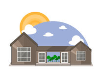 Mountain Side Summer Landscape With House, Trees, Shiny Sun and Clouds in Flat Design. Stock Photo