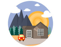 Mountain Side Summer Landscape With House, Woods an Red Car in Flat Design. Royalty Free Stock Photo