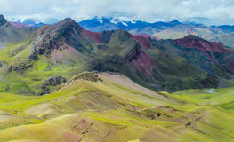 Mountain of Siete Colores near Cuzco. Valley Montana De Siete Colores near Cuzco. Seven colour mountain in Peru royalty free stock image