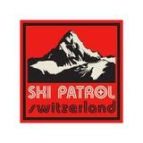 Mountain sign or symbol with text Ski Patrol, Switzerland Stock Image