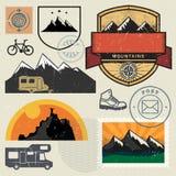 Mountain sign or symbols adventure set Royalty Free Stock Image