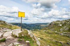 Mountain sign. A sign on the tallest mountain near Bergen City in Norway Royalty Free Stock Photo
