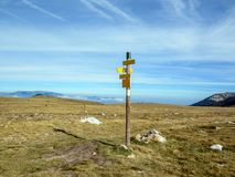 Mountain signpost with no text, The Pla Guillem plateau, eastern part of the Pyrenees, France. Mountain signpost with no text, The Pla Guillem plateau located in royalty free stock images