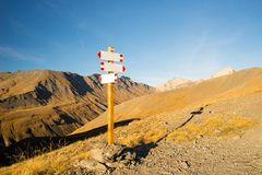 Mountain signposts copy space Stock Images