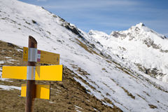 Mountain signposts Stock Photography