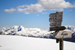 Mountain signposts Royalty Free Stock Photography