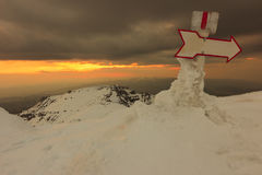Mountain signs and sunset,Bucegi mountains,Romania Royalty Free Stock Image