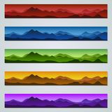 Mountain colorful web banners vector templates. Mountain silhouette colorful web banners vector templates collection stock illustration