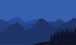 Mountain silhouette at night Royalty Free Stock Photo