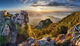 Mountain silhouette at sunset in Tatras, Slovakia royalty free stock images