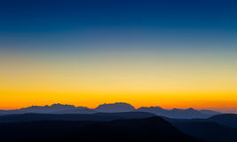 Mountain Silhouette. At the top of the highest mountain of Cañete La Real, Málaga Spain Royalty Free Stock Image