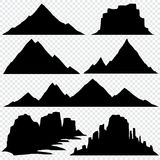 Mountain silhouette vector skyline panoramic view. Nature hill mountain, black silhouette drawing mountain illustration Stock Image