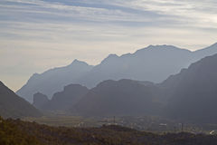 Mountain silhouettes in Arco Royalty Free Stock Images