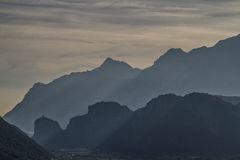 Mountain silhouettes in Arco Royalty Free Stock Photography