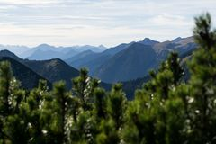 Mountain silhouettes with forest and cloudy sky stock photography