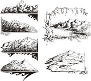 Mountain sketches. Set of black and white vector illustrations Royalty Free Stock Image