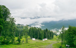 Mountain Ski Area summer. Ski resort Rosa Khutor, Sochi Stock Image