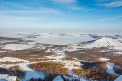 Mountain ski center Metallurg-Magnitogorsk. Near Bannoye lake, Bashkortostan, Russia stock photography