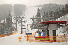 Mountain ski chair lift station Royalty Free Stock Images