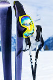 Mountain ski equipment close-up with mask and pole Stock Photo