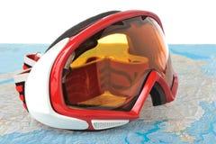 Mountain ski mask on map Royalty Free Stock Photos